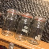 lot of three clear antique glass 1877/1879 wire side canning jars excellent condition lids seals... in Byron, Georgia