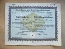 98-year old German Stock Certificate in Ramstein, Germany