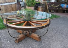 one of a kind antique coffee table with wheel and horse shoes in Ramstein, Germany