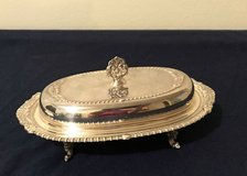 Silver Plate Covered Butter Dish with Glass Insert in Spring, Texas