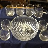 clear heavy large glass bowl and matching glass cups in Fort Campbell, Kentucky