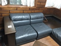 Japanese leather couch 7pc set w/ corner table in Okinawa, Japan