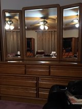 Moving Sale: Wood Dresser with Dual Hutch Mirrors in Yorkville, Illinois