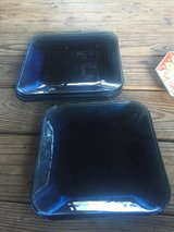 Blue glass plates heavy in Spring, Texas