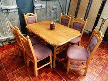 Solid Oak Extendable Dinging Romm Table with 6 Chairs Seats 6-10 People in Ramstein, Germany