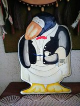 Vintage wooden Gump's peguin tray in 29 Palms, California