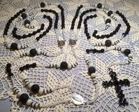 Lasso Wedding Rosary Black Lava Rock and White Czech Beads Swarovski Accents Our Lady of Guadalu... in Kingwood, Texas