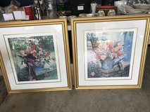 Pair of Large Floral Paintings in Gold Frames in Joliet, Illinois