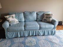 Blue Couch with Washable Sunbrella Fabric in Cherry Point, North Carolina