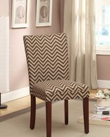 Chocolate and Tan Chevron Parsons Chair (set of 2) in Bolingbrook, Illinois