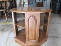Vintage Solid Wood (Distressed Cherry) End Table/Bedside Table with Shelf in Chicago, Illinois