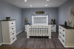 Rustic White Distressed Queen Bedroom Set in Kingwood, Texas