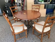 Kitchen dinette with 4 chairs.  New  (1 year) chair cushions and fabric in Plainfield, Illinois