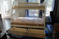 Bunk Beds. White. Full on bottom, twin on top. With mattresses in Plainfield, Illinois