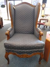 Med Blue Wing Back Chair with Wood Trim in Glendale Heights, Illinois