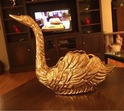 Gold Metal Swan Planter in Bolingbrook, Illinois