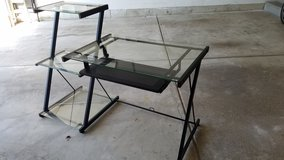 Desk with 3 tier glass shelves in Naperville, Illinois