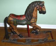 SALE PENDING - Antique Hand Painted Carved Wooden Rocking Horse w/wheels in Naperville, Illinois