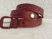 Dual layerd Leather belt size 44 with exchangable buckle extreem sturdy leather quality. in Yucca Valley, California