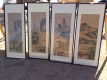 Oriental Four Season paintings on silk paper and black wood frames.-vintage in Yucca Valley, California