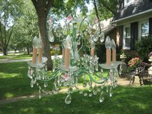 green and pink vintage chandelier with prisms in Naperville, Illinois