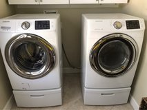 Samsung 4.2 cu ft washer & 7.5 cu ft GAS dryer with pedestals in Beaufort, South Carolina