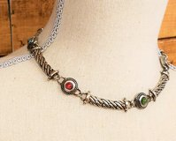 Antiqued Silver Tone Green Red Stone Statement Chain Pendant Necklace Strand in Kingwood, Texas