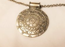 """Silver Tone 18"""" Boho Southwestern Engraved Statement Chain Pendant Necklace Strand in Kingwood, Texas"""