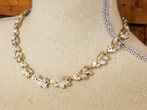 Gold Tone Crystal Iridescent Gem Stone Leaf Ivy Prom Party Chain Necklace Strand Homecoming Form... in Kingwood, Texas