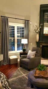 "2 Buffalo Plaid 56""x84"" Curtains (Black&White) in Kingwood, Texas"
