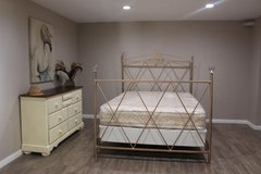 Queen Size Metal Bed and mattress Set in Kingwood, Texas