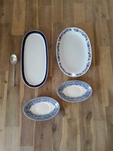 serving plates white blue oval country style in Ramstein, Germany