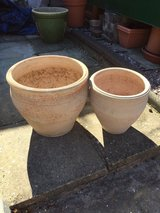 Two Terracotta Planters in Lakenheath, UK