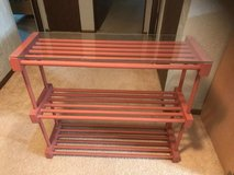 Glass top Wooden shelving unit in Westmont, Illinois