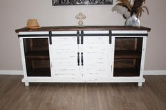 White Distressed Farmhouse Sliding Barn Door TV Stand Console in Kingwood, Texas