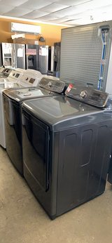 Brand new scratch and dent graphite washer and gas dryer set 90 days warranty in Fort Belvoir, Virginia