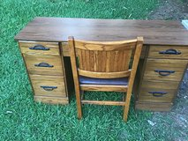 SolidWood Ranch Oak Desk With Cushion Wood Chair in Camp Lejeune, North Carolina