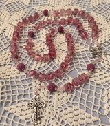 Bride Rosary Pink Roses in Glass Cubes Millefiori Style Large Lava Rock Pater Beads Italian Silv... in Kingwood, Texas
