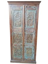 Antique Armoire Hand Carved Wardrobe Rustic Distressed Blue Indian Cabinet Reclaimed Teak Wood S... in Fort Drum, New York