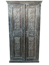 Antique Large Cabinet Armoire Rustic Wardrobe Floral Design Solid Wood Hand Carved Storage Farmh... in Fort Drum, New York