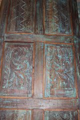 Late 19th Century Antique Architectural Floral Carved Door in Fort Drum, New York