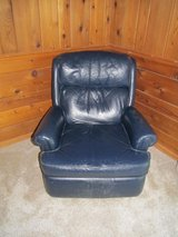 Navy Blue Leather Recliner in Oswego, Illinois