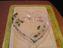 Large Heart Shaped Decorative Lead Crystal Christmas Serving Platter in Joliet, Illinois