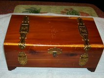 Vintage 1940's Large Cedar Wood & Metal Trim Jewelry Box in Joliet, Illinois