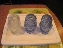 Two Blue Glass Candle Holders with Glass Chimney $5 each in Joliet, Illinois