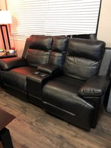 Leather love seat with storage  (reclining) in Tacoma, Washington