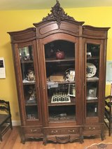 Antique French-Belgian Louis XV Armoire/Display Solid Oak in Ramstein in Ramstein, Germany