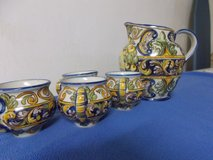 Portuguese Hand-Painted Pitcher with Cups in Grafenwoehr, GE