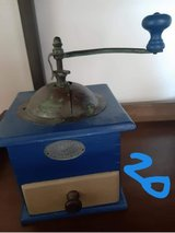 Chalk painted Blue and Tan coffee grinder in Ramstein, Germany