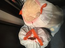 Two trash bags of stuffed animals in Okinawa, Japan